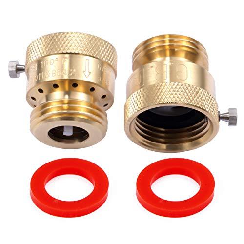 """Litorange 2 Pack Brass 3/4"""" Inch GHT Hose Bibb Connector Backflow Preventer Vacuum Breaker"""