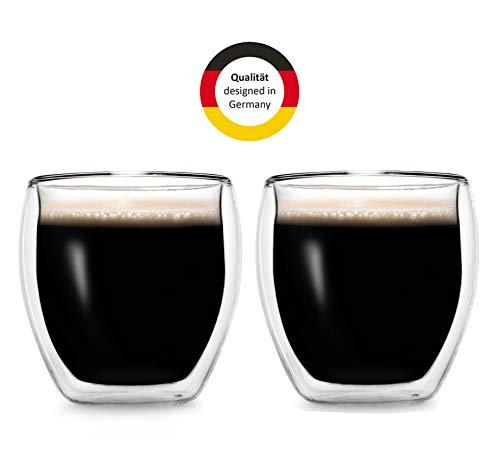 Creano doppelwandige Espresso-Gläser, 2er-Set 100ml Thermo-Gläser mit Schwebe-Effekt