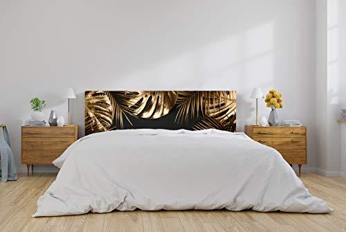 Cabecero Cama PVC Hojas Dorado y Negro 150x60cm | Disponible en Varias Medidas | Cabecero Ligero, Elegante, Resistente y Económico