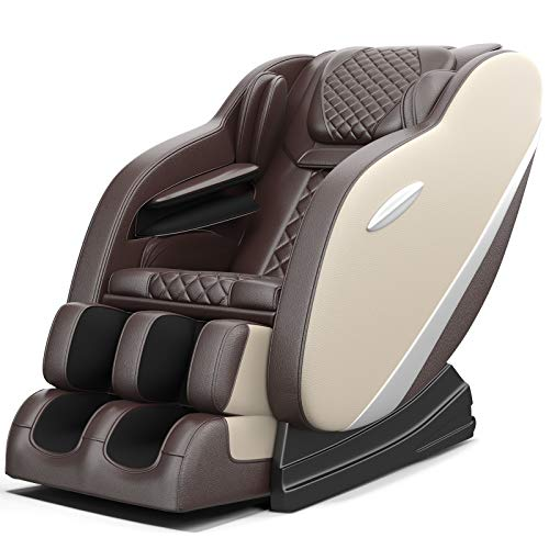Real Relax Massage Chair, Full Body Zero Gravity Shiatsu Massage Recliner with S Track Auto Body Detection Rocking Chair Mode Bluetooth Speaker Heat, SS02(Khaki and Brown)