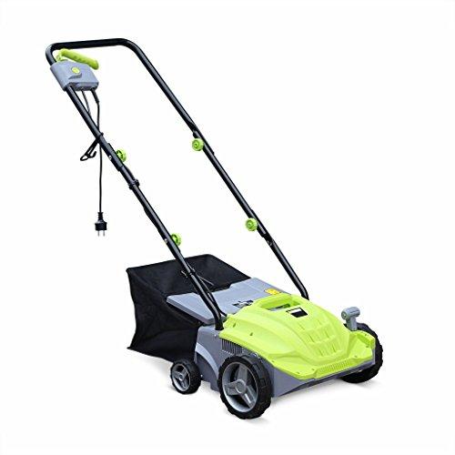 VOLTR - Scarificateur électrique Gazon 1500W - Outil 2en1 aérateur et démousseur pelouse. 2 Rouleaux : Couteaux et Griffe. collecteur 30L. Entretien Herbe
