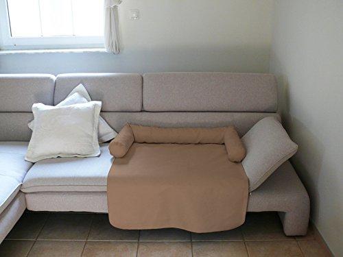 Artur Soja Mila Schlafplatz Hundebett Couch Sesselschutz Sofaschutz Alcantara Größen: S-XL (M - 70x90cm, BEIGE)