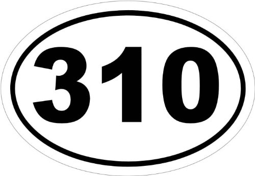 310, Area Code, in an Oval, Vinyl Car Decal, Multiple Colors', 20-by-20 inches'