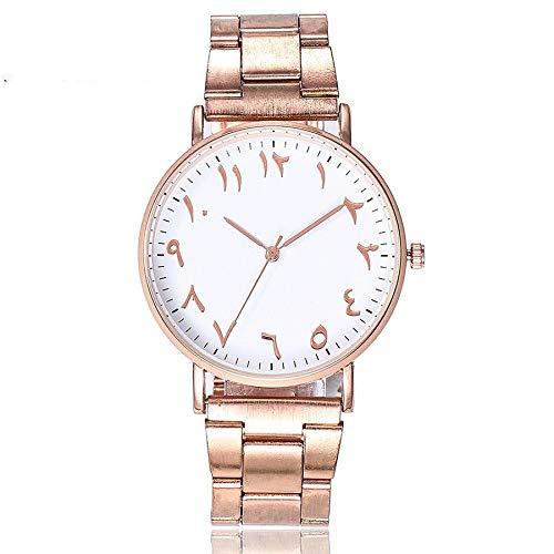 HZBIOK Uhren Damen Markenmode Roségold Edelstahl Arabische Zahlen Uhren Beiläufige Frauen Quarz ArmbanduhrenSilber