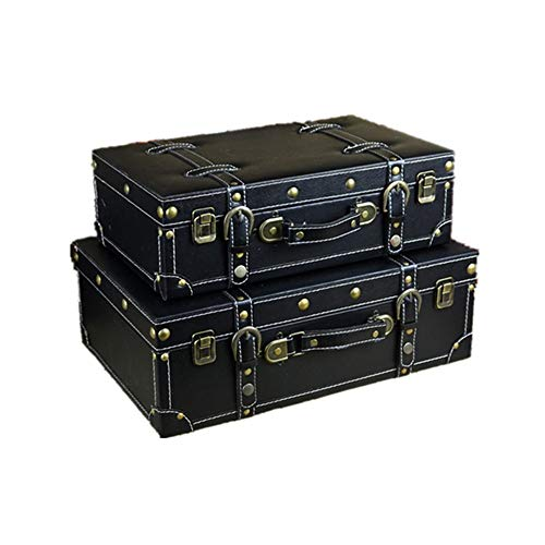 Jeterndy Retro Suitcases Set of 2 Vintage Decorative Suitcase Storage Trunk Storage Box Storage Chest Kids Room Tidy Toy Box for Home Decor Decorative Storage Box Color  Black Size  LargeSmall