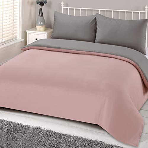 Brentfords Plain Dye Duvet Cover Quilt Bedding Set With Pillowcase, Blush Pink Grey - Single BRENTBLSGY61