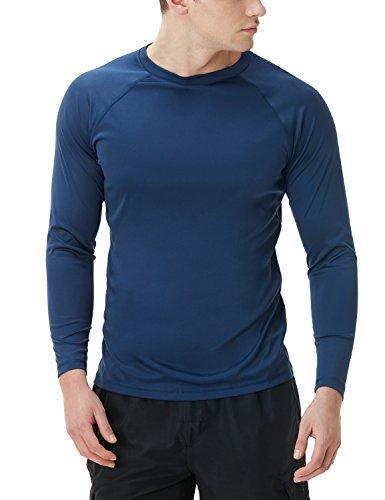 TSLA Men's UPF 50+Long Sleeve Rashguard Loose-Fit Swim Wear Top, Basic Sun Block(mss03) - Navy, Large