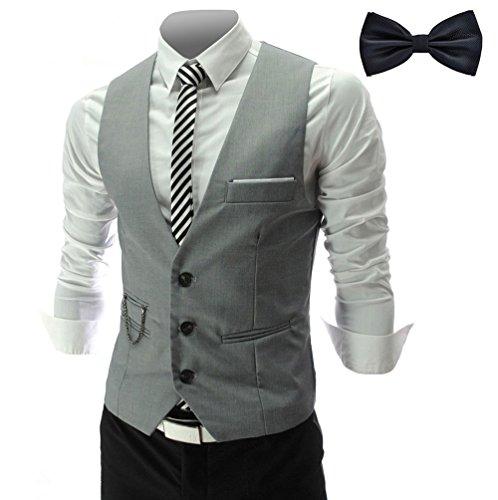 YaoDgFa Herren Weste Anzug + Fliege Smoking Sakko Anzugweste Herrenweste Herrenanzug slim fit Hochzeit feierlich Elegant, Grau, M