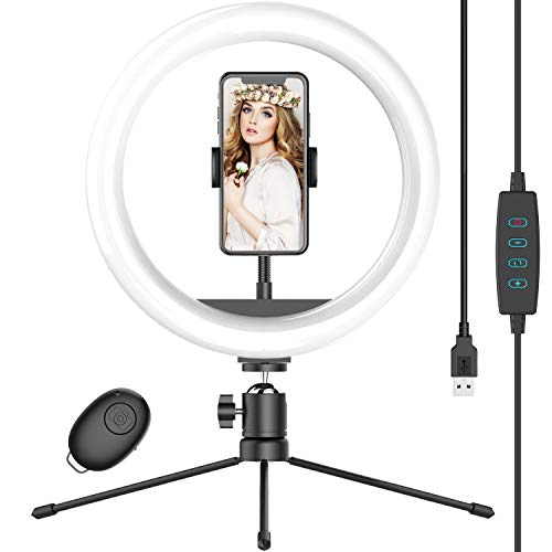 10' Selfie Ring Light with Tripod Stand & Phone Holder, Dimmable Desk LED Makeup Ring Light for Live Streaming/Zoom Meetings/YouTube Video/Volg, Compatible with Smart Phones