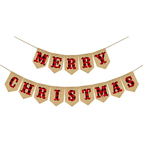 Adurself Merry Christmas Burlap Banner Red Black Buffalo Plaid Letters Rustic Vintage Christmas Bunting Garland for Outdoor Indoor Holiday Xmas Party Mantle Fireplace Hanging D¨¦cor