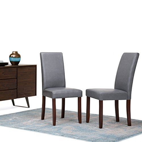 SIMPLIHOME Acadian Parson Dining Chair (Set of 2), Stone Grey Faux Leather and SOLID WOOD, Square, Upholstered, For the Dining Room, Contemporary Modern