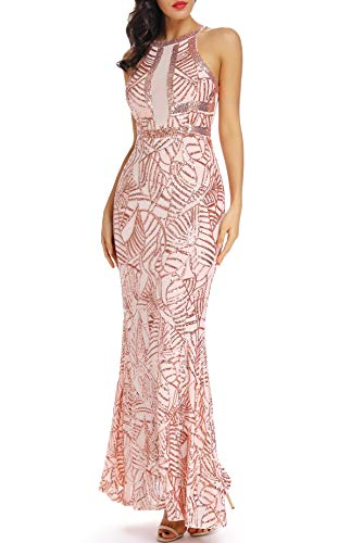 VVMCURVE Women's Sexy Off Shoulder Sequin Evening Prom Long Gowns Fishtail Maxi Dress (Medium, Pink-Rose Gold)