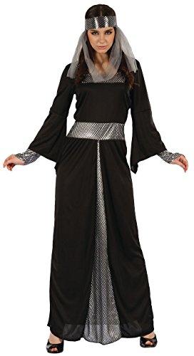 P'TIT CLOWN 99691 Déguisement Adulte Luxe Femme Médiévale - S/M - Noir/Gris
