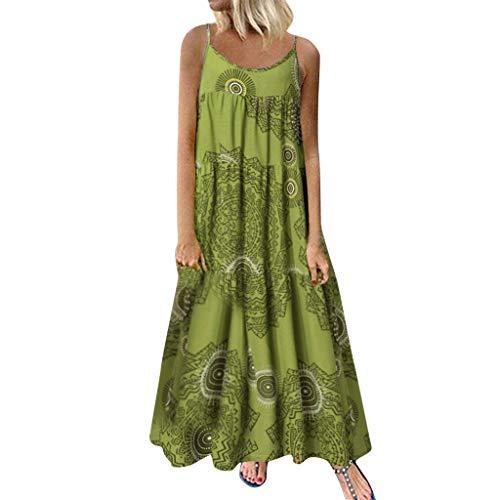 COZOCO Mujer Verano De Playa Vestido De Verano Vestido Verano Mujer Camiseta AlgodóN Casual Tallas Grandes Vestido De Tallas Grandes De Playa(Verde,EU-46/CN-4XL)