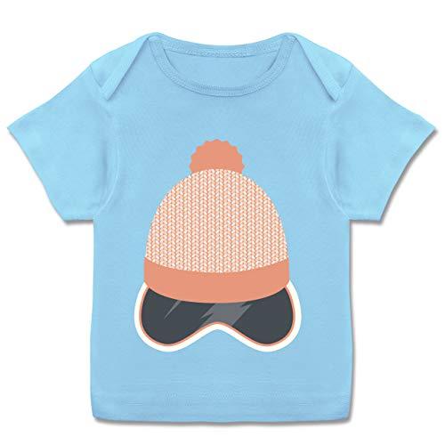 Sport Baby - Ski Snowboard Brille Mütze - 68-74 - Babyblau - Geschenk - E110B - Kurzarm Baby-Shirt für Jungen und Mädchen