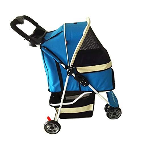 Buggy Hondenkinderwagen, opvouwbaar met 3 wielen, voor veilig gebruik buitenshuis, licht, regenbestendig, kat blauw