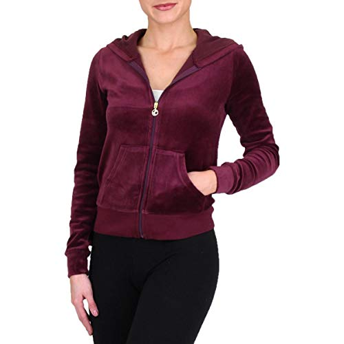 Juicy Couture Roberston Womens Velour Hoodie Jacket Purple Size XS