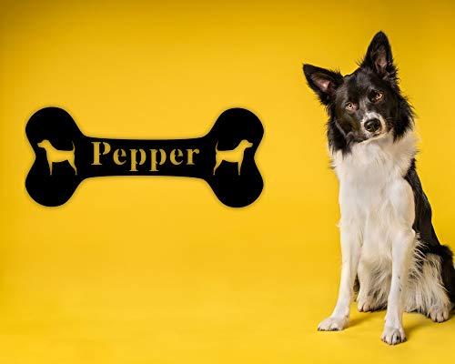 Ced454sy Hundeknochenschild, Hundeknochen-Schild, Haustier-Namensschild, Hundeliebhaber-Schild, personalisierbar, Hundehütten-Schild, Metall-Hundeknochen