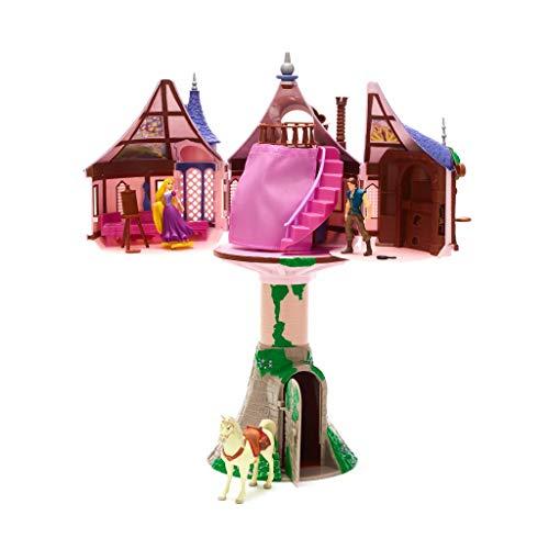 Disney Store Set da Gioco Grande Torre Apribile di Rapunzel Personaggi E Accessori Flynn Rider Giocattolo Originale Disney