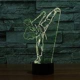 3D Illusion Karate Lámpara luces de la noche ajustable 7 colores LED Creative Interruptor táctil estéreo visual atmósfera mesa regalo para Navidad