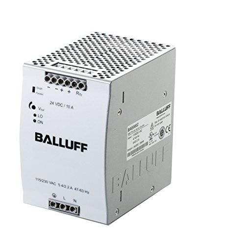 Balluff BAE0002, Power Supply, Single-Phase, Switched, 115.230 VAC, 24 VDC, 10A, DIN-Rail, IP20