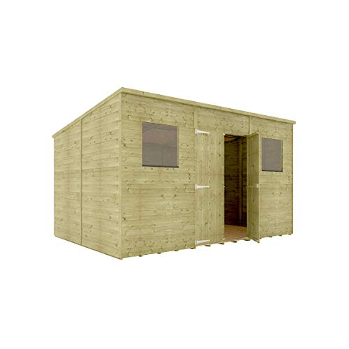 12 x 8 Pressure Treated Hobbyist Pent Shed Tongue & Groove Shiplap Cladding Construction Central Door OSB Floor Wooden Garden Shed 3.65m x 2.43m