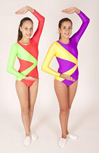 Gymnastikanzug Trainingsanzug für Turnen und Rhythmische Sport Gymnastik (Violett+Gelb, Größe: 160-164/ Alter: 13-14 Jahre)