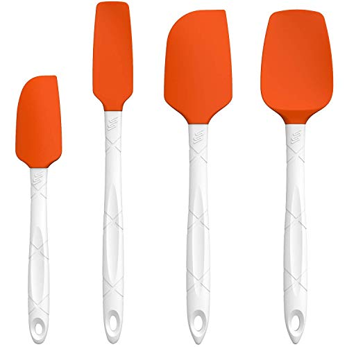 M KITCHEN WORLD Heat Resistant Silicone Spatulas Set - Rubber Spatula Kitchen Utensils Non-Stick for Cooking, Baking and Mixing - Ergonomic, Dishwasher Safe Bakeware Set of 4, Orange