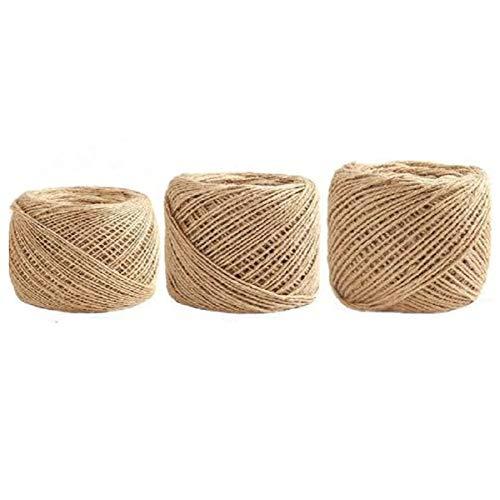Kit de hilo de yute con 1/2/3 mm de diámetro/mismos 100 pies, hilo de yute tejido, manualidades para colgar plantas de jardín