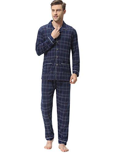 Herren Schlafanzug Zweiteiliger Pyjama Sets Jugend Karierte Nachtwäsche Set Winter Warm Langarm mit V-Ausschnitt und Knopfleiste