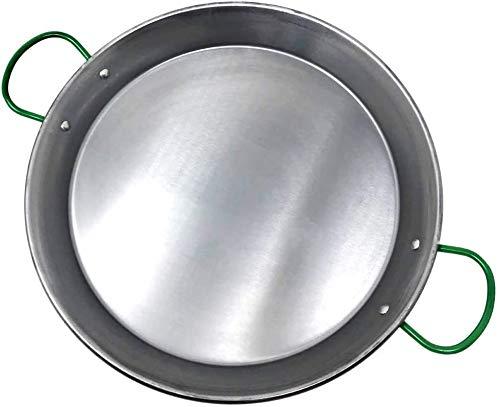 Space Home - Paella Pfanne - Stahlpfanne - Grüne Griffe - Geeignet für Flammenfeuer - In Spanien hergestellt - Ø 38 cm