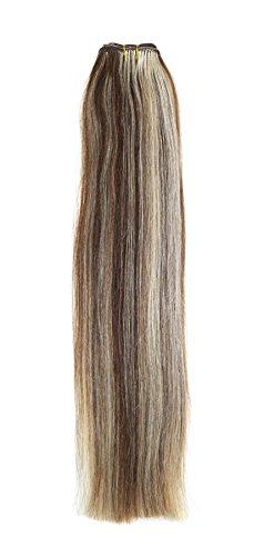 Euro soyeux tissage | Extensions de cheveux humains | 45,7 cm | Mélange Marron/Blond Blondie (P8/22) American Pride