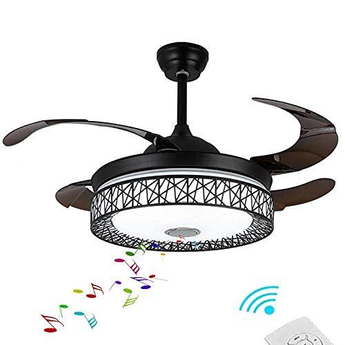 Ventilador de techo moderno elegante negro jaula de pájaros con luces Smart fandelier Control de ventilador de techo Bluetooth..