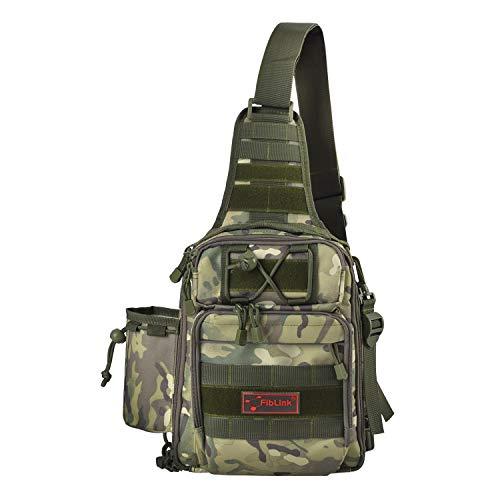 Fiblink Waterproof Sports Single Shoulder Fishing Tackle Bag Backpack or Handbag Chest Daypack Crossbody Messenger Sling Bags for Hiking Camping (Khaki)