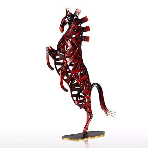 XJJZS Estatuilla de Caballo de Tejido Rojo, estatuilla en Miniatura de Hierro, decoración del hogar, Regalo Artesanal de Animales para la Oficina en casa