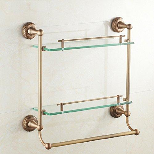 Cuarto de baño estante de vidrio, Estante del cuarto de baño de 3 gradas, barra de toalla multifuncional montada en la pared montada en la pared de la toalla del estante de cristal del baño de bronce