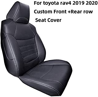 Cqlights RAV4 Seat Covers Auto Full Set Seat Cover Protector Leather Black for Toyota RAV4 Hybrid 2019 2020 (Airbag Compatible)