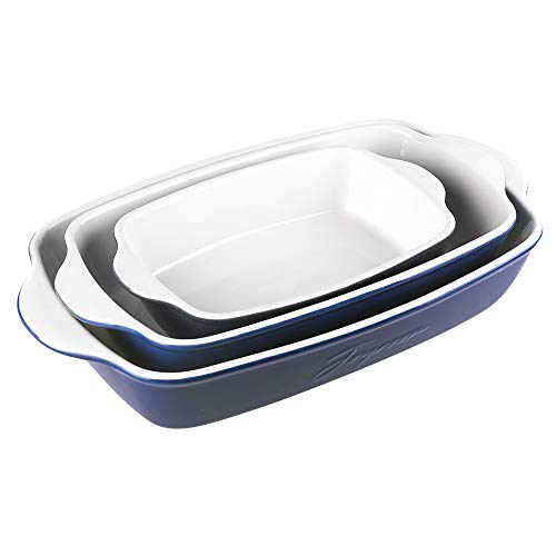 Joyroom Bakeware Set, Keramik Auflaufform Rechteckige Backformen zum Kochen, Kuchen Abendessen, Küche, 9 x 13 Zoll, Letter Collection 3er Set (Indigo)