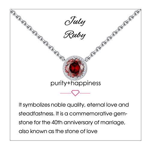 Qings Collar de Piedra de Nacimiento de Julio Plata de Ley 925 Rubí Piedra de Nacimiento de Piedra Preciosa Collares Colgante Collares de Mujer para Mujer Cumpleaños