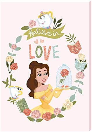 Edge home Disney Princess Belle Motivational Wall Art Canvas with Glit Standard product image