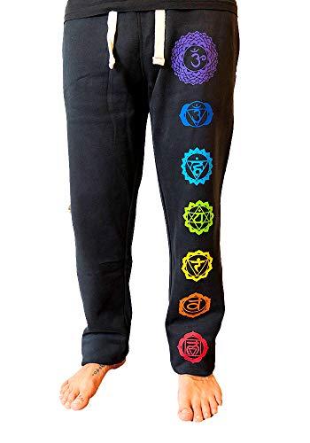 Schwarze Herren Yoga Hose mit den 7 Chakren in Regenbogen Farben