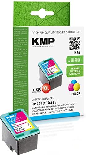 KMP Tintenpatrone Kompatibel mit HP 343 Farbig für HP Deskjet 460c/460cb/460wbt/5740/5745/5940/6520/6540/6540d/6620/6840/9800/9800d, Officejet 6205/6210/6215/7210/7310/7410