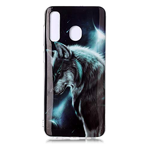 QC-EMART 3PCS Cases for Samsung Galaxy A20 Soft Silicone TPU Gel Back Case Protective Cover 3D Cool Cute Animal Pattern Shockproof Protection Bumper Covers Blue Wolf Cat Tiger Smile Face