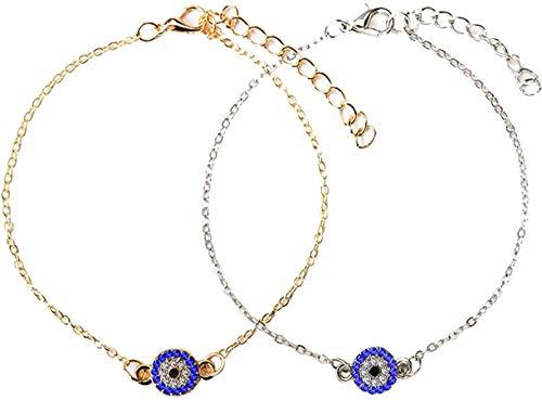 Pulsera de Ojo Malvado de Pavo Azul para Mujer, Brazalete de Ojos de Cristal de la Suerte para Mujer, joyería de Cadena de pie, Pulsera de Tobillo de Buena Suerte chapada en Oro y Plata, Cadena de