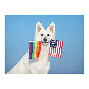 Table Cloth Wrinkle Free Stitching White Shepherd Dog Holding Rainbow American Tablecloth Cotton Linen Table Cloths Washable Tablecloths for Tables 8