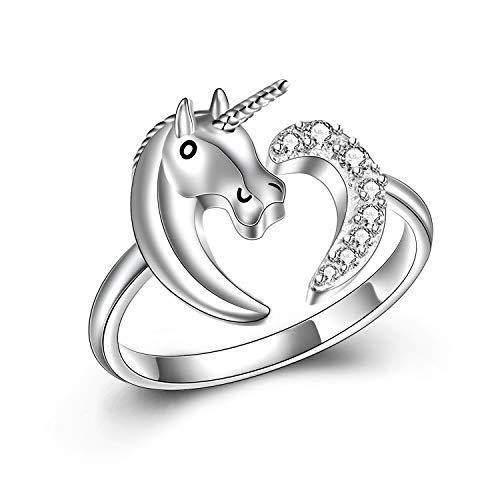The Ring Einhorn Schmuck Geschenk Echt Silber 925 für Kinder, Mädchen and Frau. Kinderschmuck...