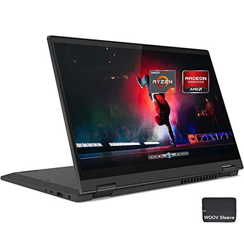 "Lenovo Flex 5 14"" 2-in-1 Touchscreen Laptop, 8-Core AMD Ryzen 7 4700U (Beat i7-8550U), FHD IPS, 16GB DDR4 RAM, 1024GB PCIE SSD, Backlit, Fingerprint, 3.63lbs, Bundled with Woov Sleeve, Win 10, Black"