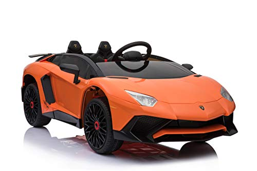 ES-TOYS Kinderfahrzeug - Elektro Auto Lamborghini Aventador SV - lizenziert - 12V7AH, 2 Motoren- 2,4Ghz Fernsteuerung, MP3, Ledersitz+Eva (Orange)