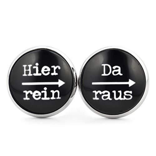 SCHMUCKZUCKER Damen Herren Unisex Ohrstecker mit Spruch Hier rein - da raus Lustige Edelstahl Ohrringe Silber Schwarz 14mm