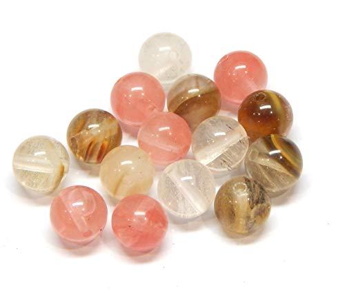 Tigerskin - Perlas de cristal de cuarzo de cerezo, piedras semipreciosas, redondas, 6 mm, diseño de joyas, accesorios para manualidades, cadena de perlas, 18 unidades